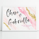 Custom Wedding Welcome Sign Canvas Agate Pink and Gold Geode Watercolor