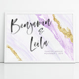 Personalized Wedding Signage Purple and Gold Watercolor Sign
