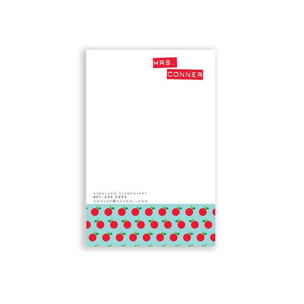 Personalized teacher gift apple patter notepad