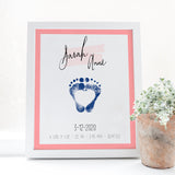 Baby Girl Nursery Personalized Baby Footprint Brith Stats name poster with heart