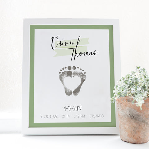 Baby footprint art modern boys nursery room art baby stats poster green