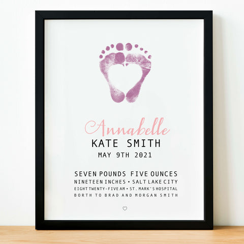 personalized  newborn footprint custom birth day info nursery wall decor