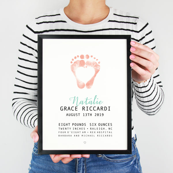 newborn baby footprint nursery brith stats art print