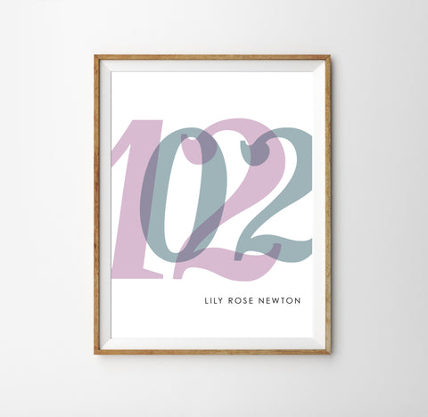 Baby birth date wall art with kids birthday for modern nursery in purple and blue