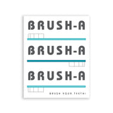 Brush Your Teeth Bathroom Art Blue Toothbrush Wall Print
