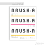 pink and yellow bathroom sign brush your teeth toothbrush