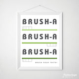 Green bathroom brush your teeth art print toothbrush wall poster