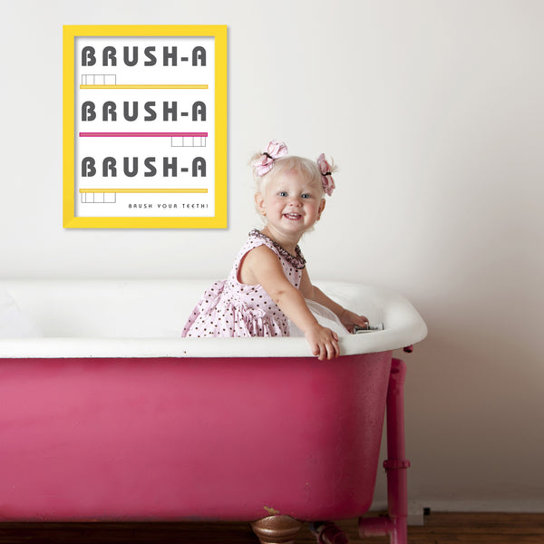 Bathroom Wall Art Toothbrush Print for Yellow and Pink bath