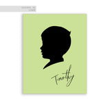 Black Cameo Silhouette on Green background personalized boys room wall art print