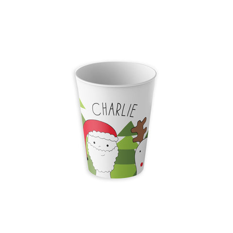 Santa and Rudolph on Kids Cup Personalized with Name 6 oz tumbler