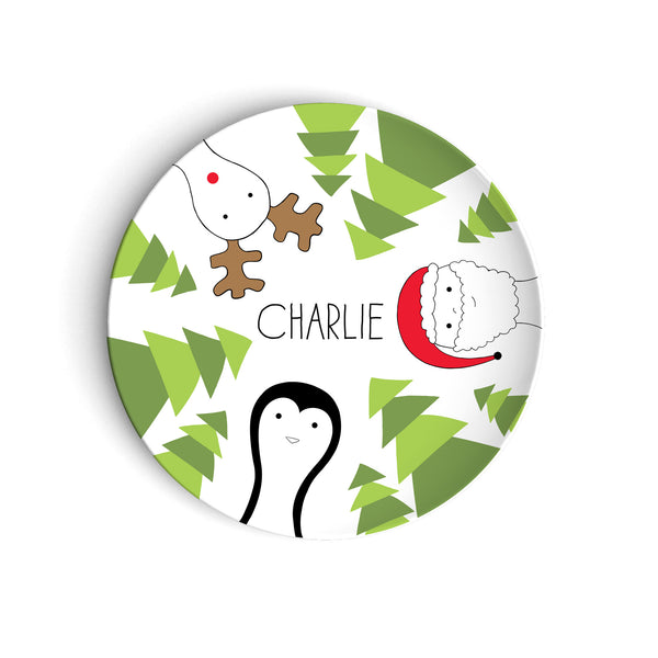 Holiday Plate with Rudolph Penguin Santa Claus and Trees Personalized with Name