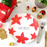 Christmas Holiday Poinsettia Custom Plate Dinnerware with Name