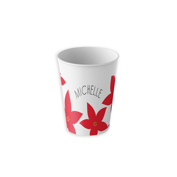 Red Christmas Poinsettia on Tumbler Cup with Kids Name