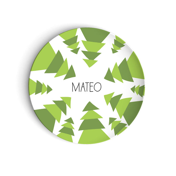 Funky green pine trees on holiday plate with personalized name