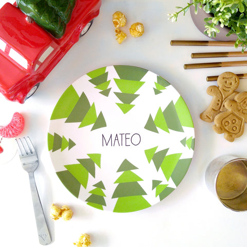 personalized christmas dinnerware green tree pattern