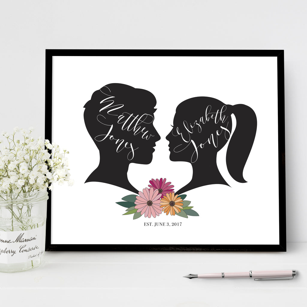 Wedding welcome sign floral silhouette couples cameo print wedding silhouette sign with custom bride and groom cameos with daisy boquette men and women silhouette junglespirit Gallery