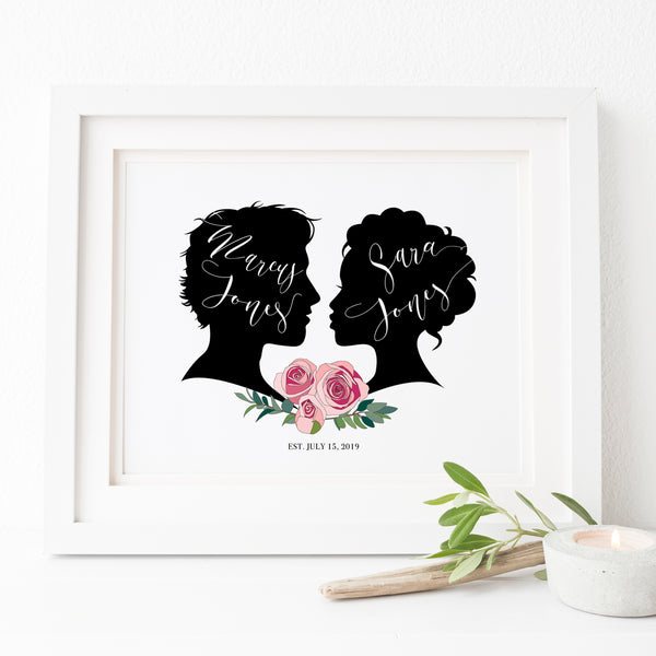 Vintage Classic Black silhouette wedding guest book poster with rose bouquet personalized