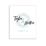 Blue wedding welcome sign or guest book alternative poster with custom names and colors