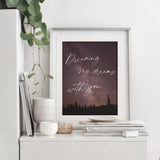 Celestial night starry sky outdoors woodland romantic quote bedroom print