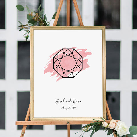 Octagon Gemstone Wedding Sign in Baby Pink Reception Decor on Easel