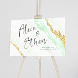 Personalized Wedding Sign Green and Gold Agate Geode Watercolor Canvas