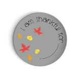 Fall leaves Thanksgiving Grey Thankful Plate Kids Dinnerware