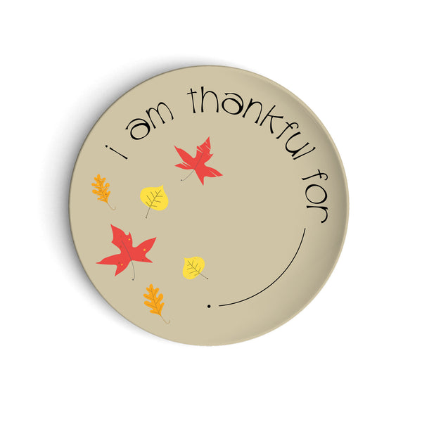 Tan plate with fall leaves Thanksgiving table decor I am Thankful For