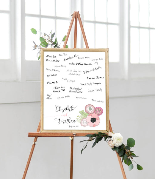 Wedding Guest Book Alternative Sign for Pink Wedding with Pink Floral Poppy Bouquet