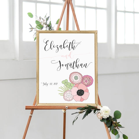 Wedding Welcome Sign Floral Pink Wedding Poppy Bouquet Wedding Signage