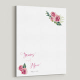 Wedding guestbook canvas alternative guest book idea with roses