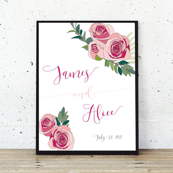 Personalized wedding welcome sign with couples names and pink roses