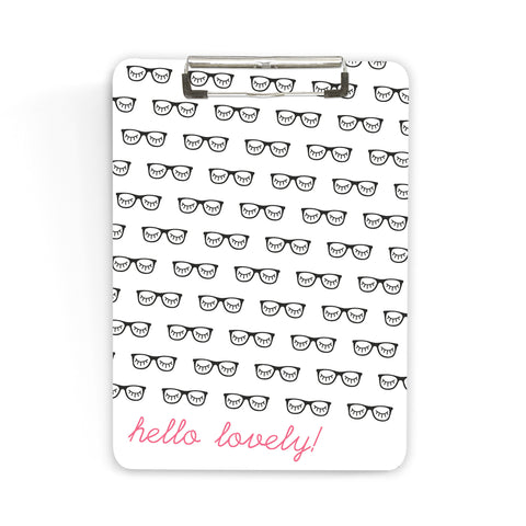 Pink and Black Rimmed Glasses Clipboard Hello Lovely Home Office Organization Hipster Gift