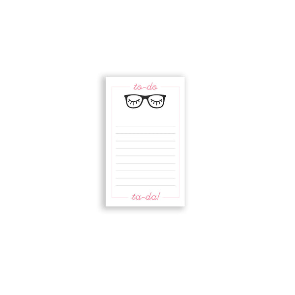 Small notepad pink and black rimmed glasses note pad teacher gift