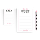 Note pad to-do list black and pink eyelash glasses notepad pink office organization