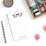 Notepad Teacher Gift black rimmed glasses pink and black eyelashes todo list