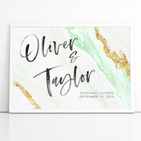 Green and Gold Agate Watercolor Wedding Welcome Sign Personalized