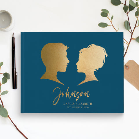 wedding guest book traditional silhouettes navy blue and gold wedding book