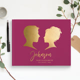 traditional wedding guest book gold foil hard bound landscape