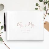 Custom Wedding Guestbook Gold Foil White Traditional Guest book