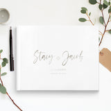 personalized wedding guest book travel theme traditional silver foil sign-in