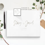 Silver Foil Wedding Guest Book Traditional Guest Sign-In Registry