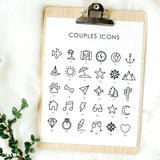 couples icons for custom wedding guest book