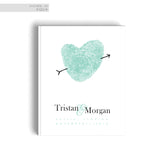 Hard Cover Wedding Guestbook Blue Fingerprint Heart Sign In Book