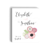 Wedding Guest Book Floral Theme Pink Wedding Hard Cover Guest Sign in Book