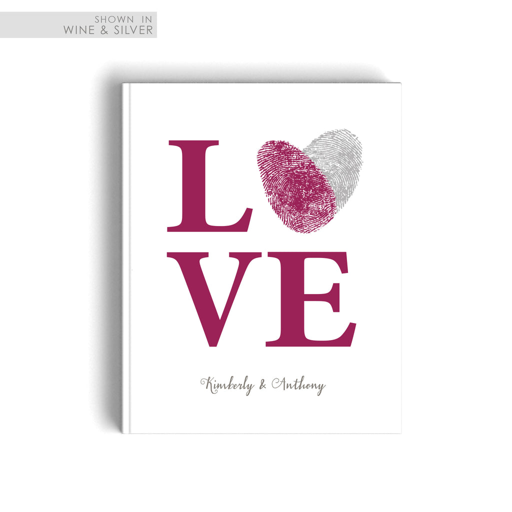 Fingerprint wedding guest book flutterbye prints guest book wedding sign in love with fingerprint heart in maroon and silver sciox Images