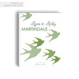 Pastel Greenery Wedding Guest Book Swallow Bird Themed Hard Cover Book