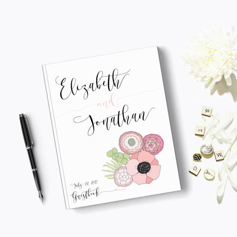 Floral Wedding Guest Book Hard cover GuestBook Sign in with Pink Poppies Bouquet
