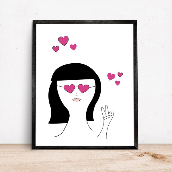 Girls Room Art Print with Girl Wearing Heart Shaped Glasses and pink hearts