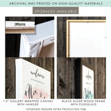 canvas and black framed upgrades for watercolor brush wedding welcome sign