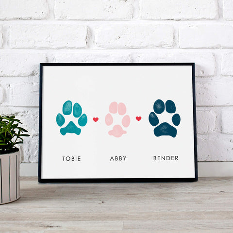 personalized paw print artwork three dog paw print owner gift